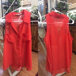 Red-orange sheer collared sleeveless blouse